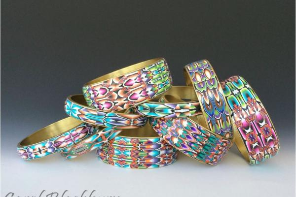 Carol Blackburn - bangles from patterns in polymer